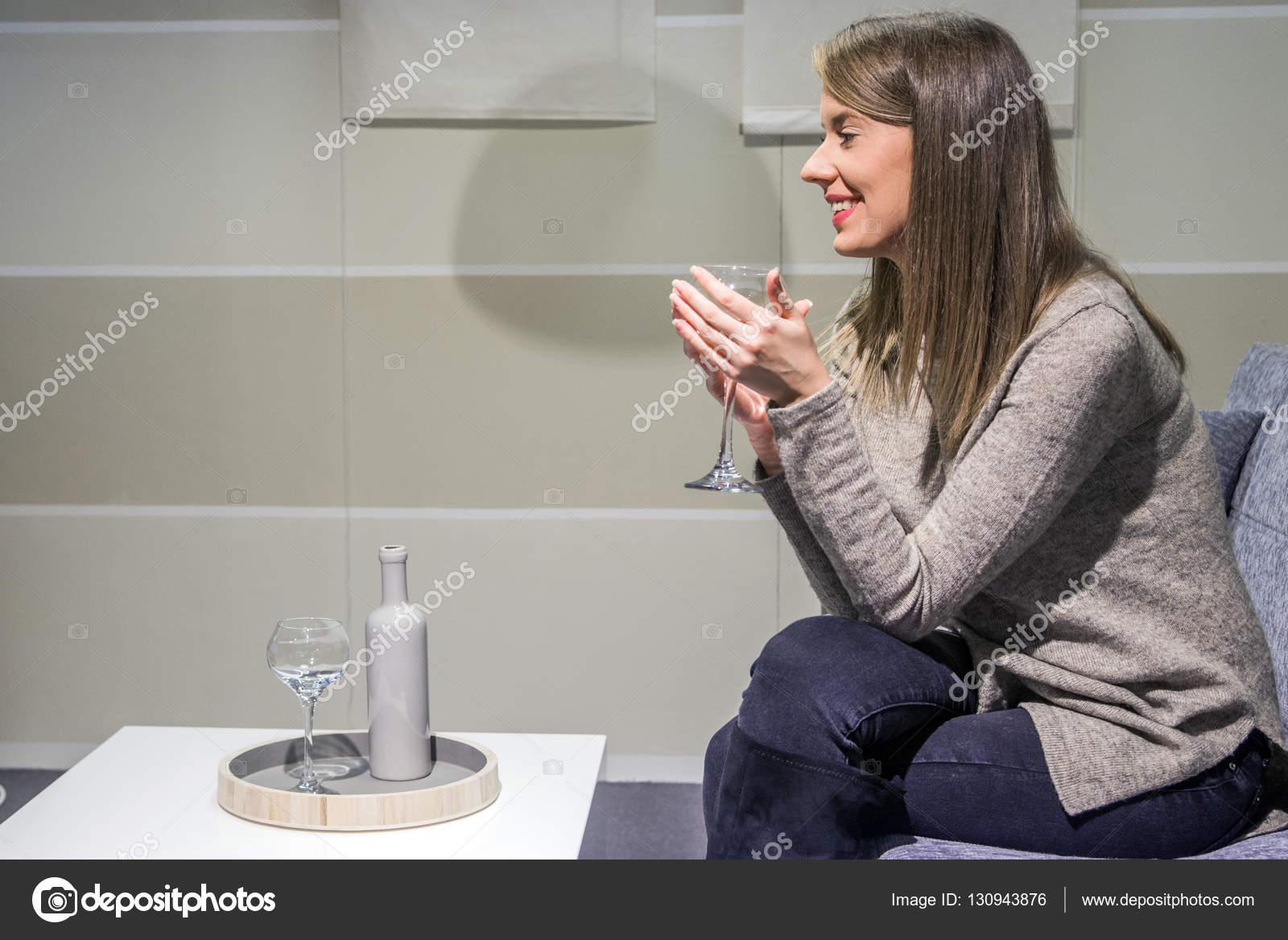 Miraculous Portrait Young Woman Holding Wineglass While Sitting On Inzonedesignstudio Interior Chair Design Inzonedesignstudiocom