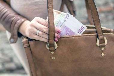Closeup photo of stylish woman taking money out of leather handbag. Spending money concept