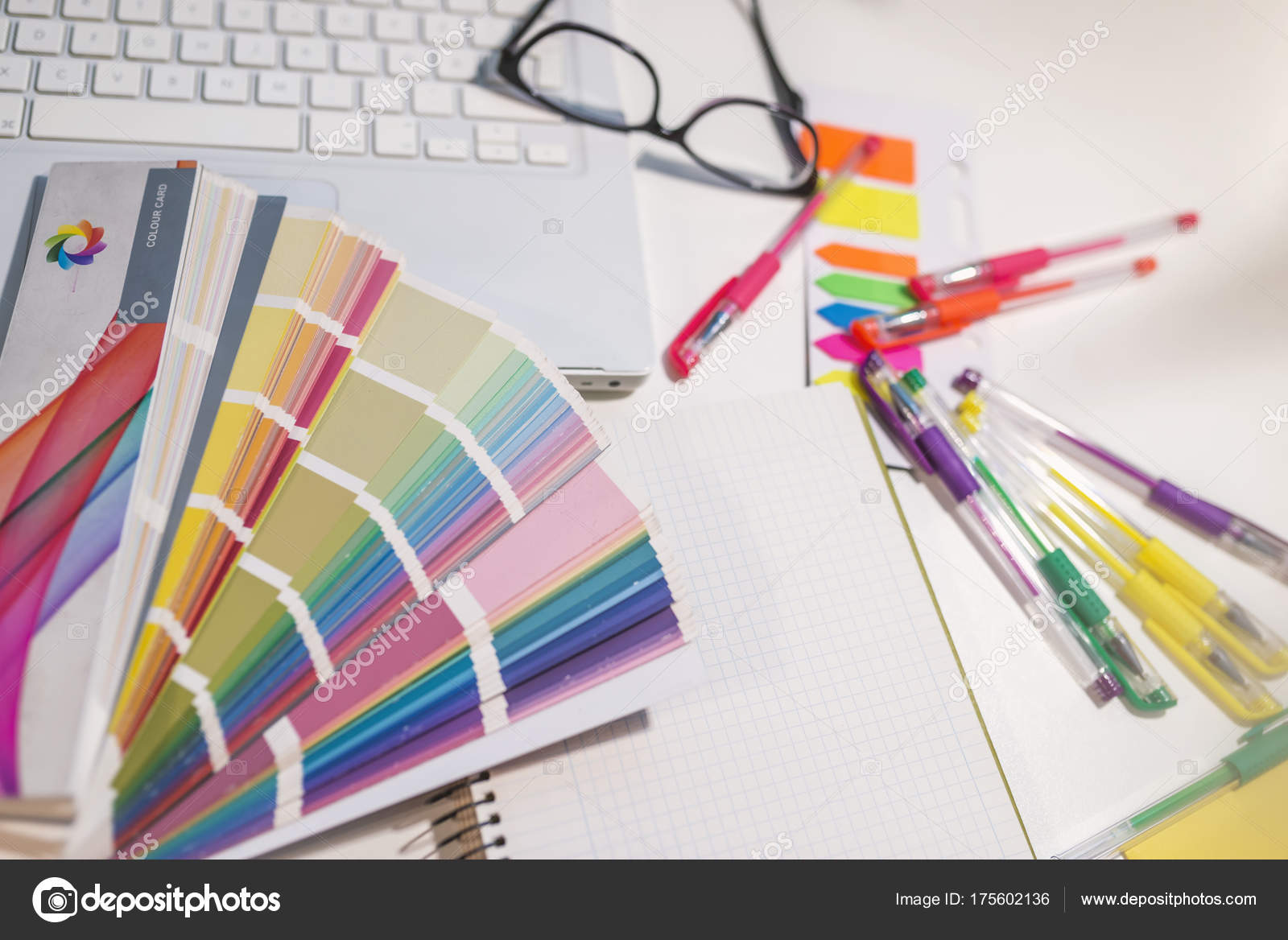 Colour Sample Chart On Table With Laptop And Office Supplies. Different  Sorted Color Samples, Color Fan Palette U2014 Photo By Dragana.stock@gmail.com
