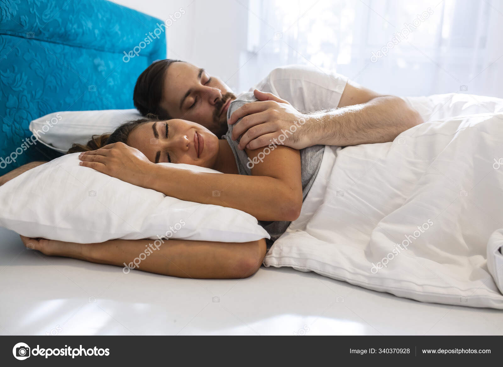 Young Cute Couple Sleeping Together Bed Happy Couple Sleeping Comfortable Stock Photo C Dragana Stock Gmail Com 340370928