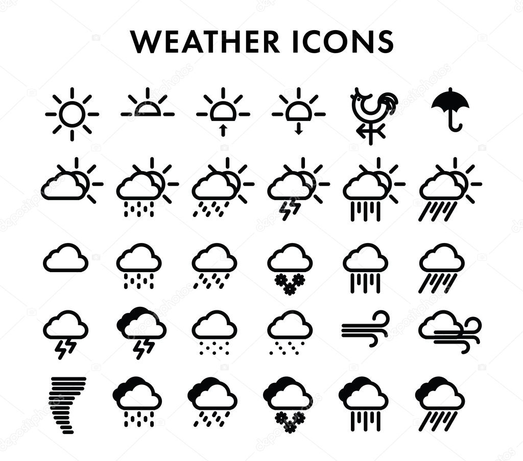 icons, weather, icon, set, symbol, web, climate, the sun Hail Clip Art