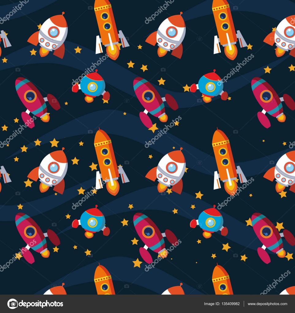 Rocket Children Pattern Wallpaper Background Space Astronauts Bathroom Toys Cartoons Boy Illustration Vector By