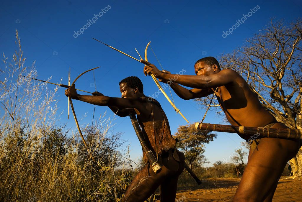 Bushmen simulating a hunt at Grashoek