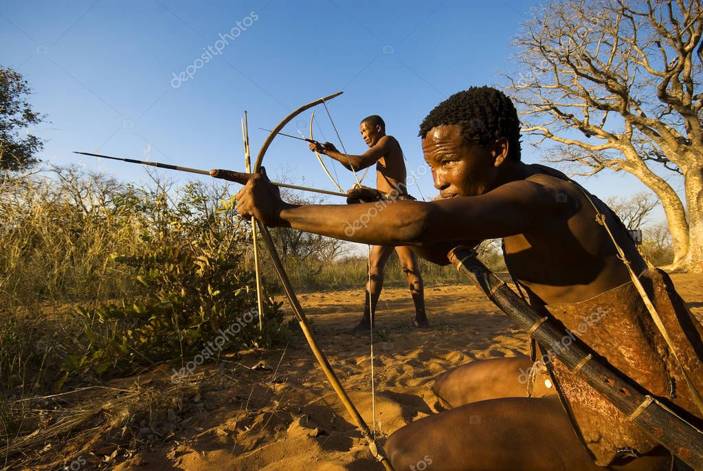 Bushmen simulating a hunt at Grashoek