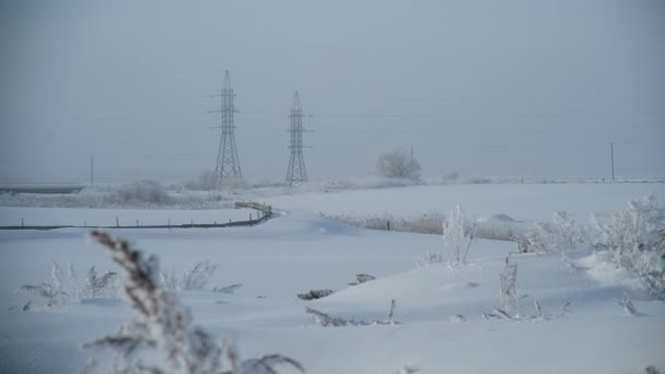 Big Electric Lines in Russian Village in Winter, Beautiful Winter, Branches Covered With Snow and Frost, Snowy Russian Steppe
