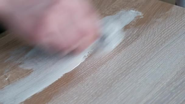 Slowmotion   People Paint Wood Table Surface With White Paint, Painting  Furniture For Loft Cafe