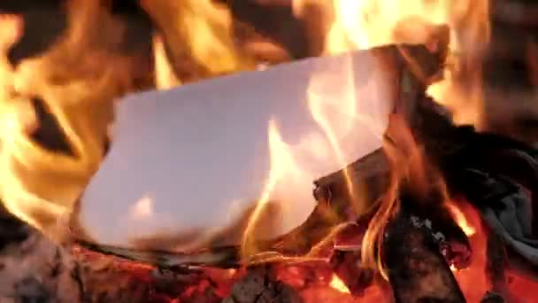 Sheets of paper are burned in the fire.