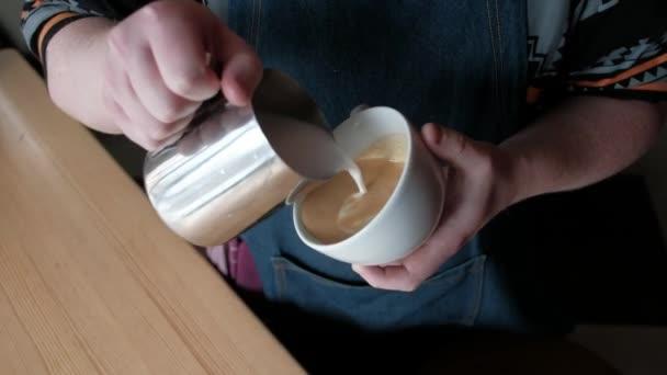 coffee latte art making by barista