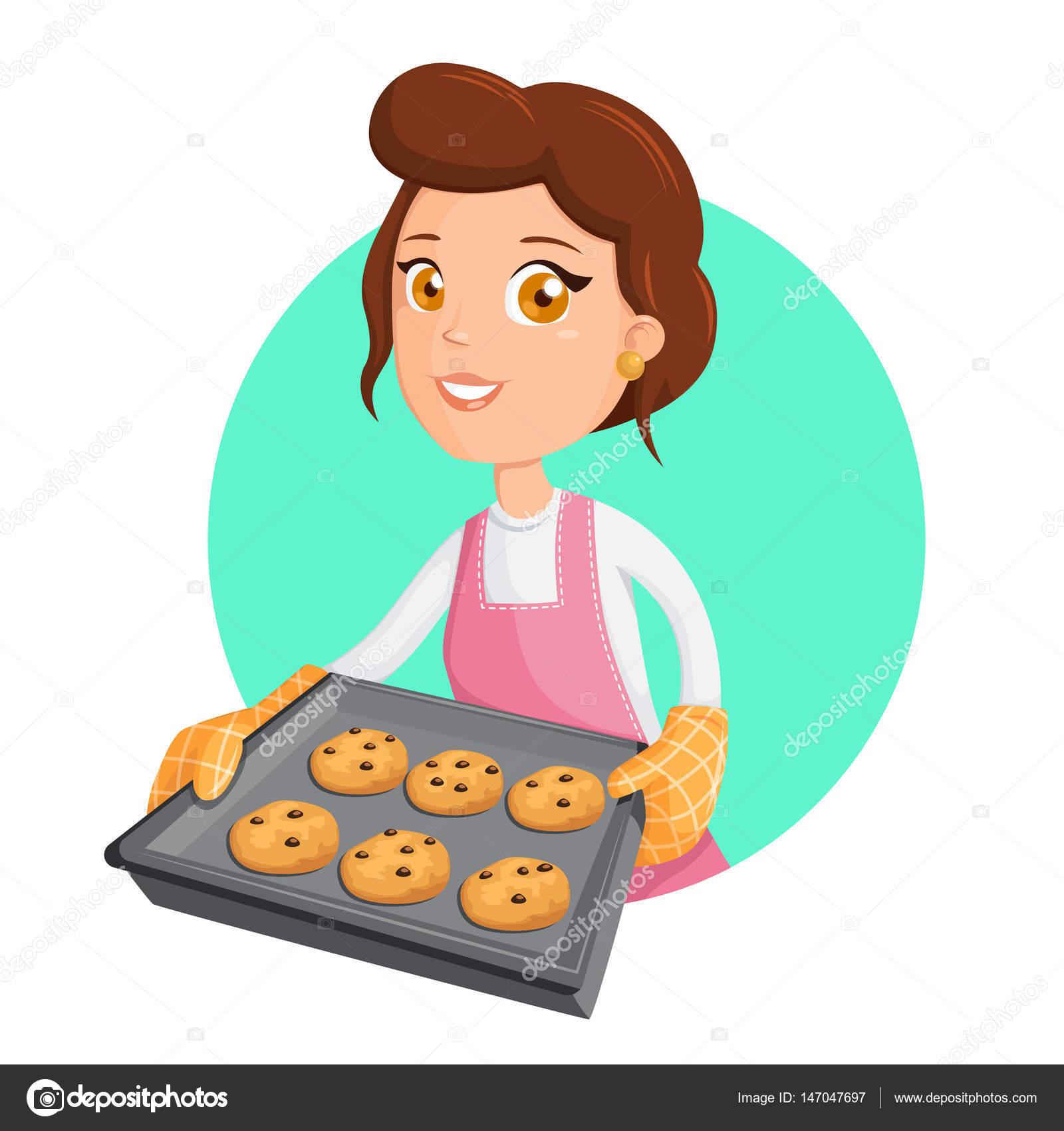 Mujer cocina ilustraci n vectorial de una ni a con - Nina cocinando ...