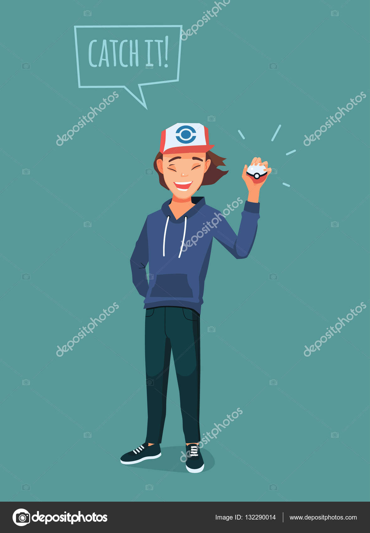 young man with pokemon ball pokemon go player with quote stock