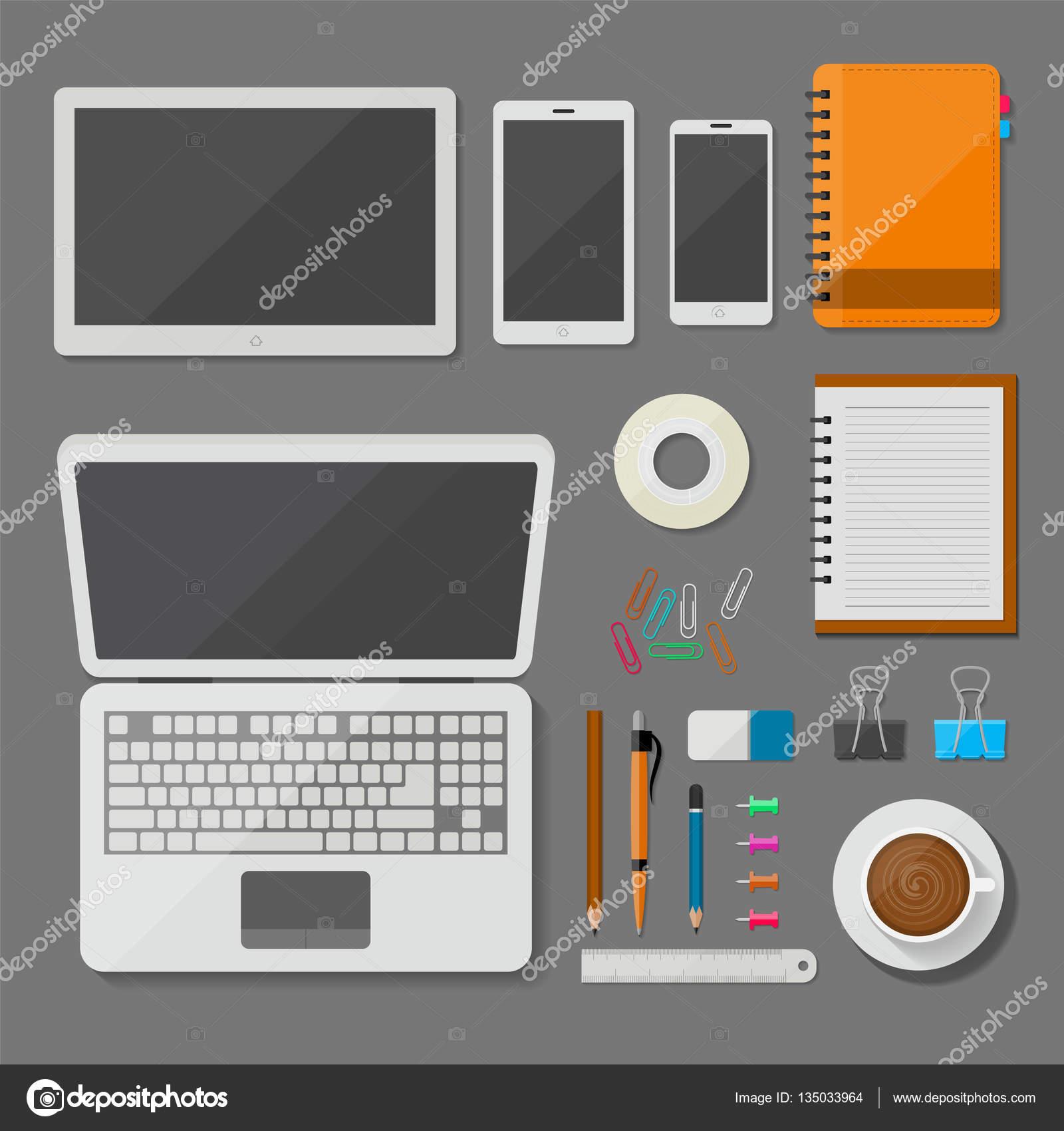 Top vista laptop tablet smartphone e com escritrio no local de vista superior notebook tablet smartphone e local de trabalho com itens de escritrio e negcios design de vetor de elementos no conceito de mesa foto ccuart Gallery