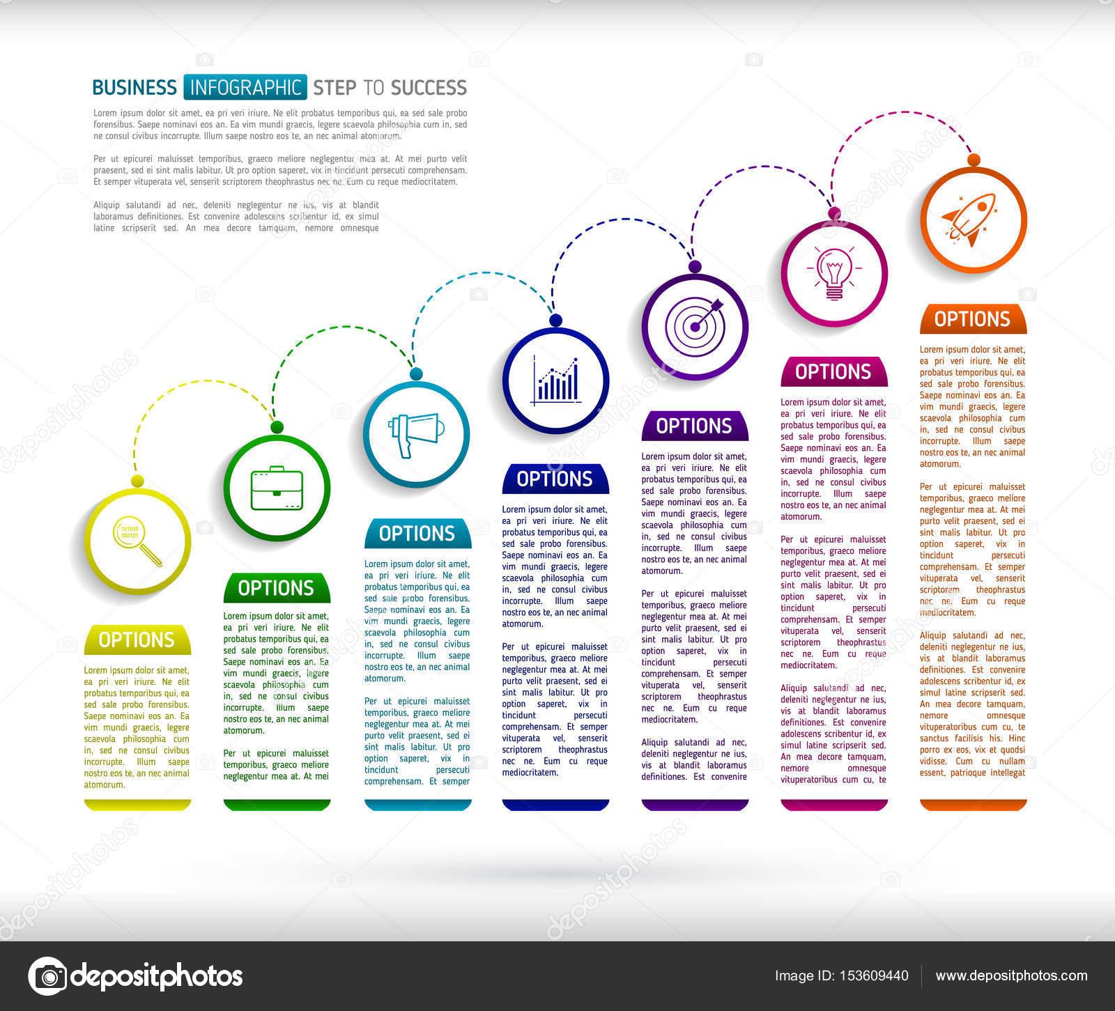 Treppen-Infografik-Design-Vorlage mit 7 Multi farbige folg ...