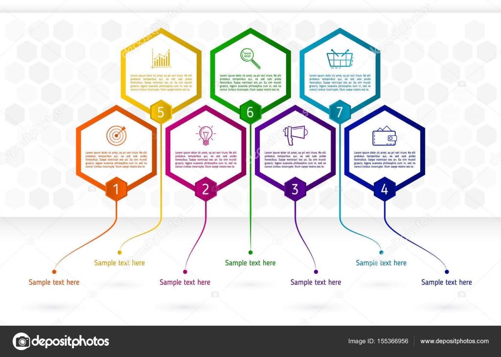 Infografik-Vorlage mit sieben Sechseck-Elementen. Abstrakte colo ...