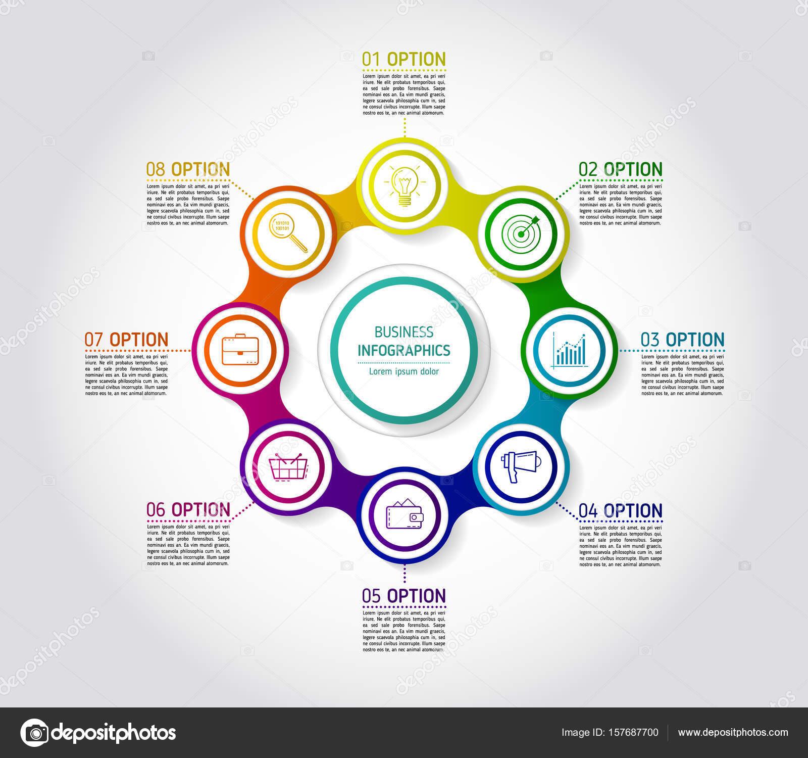 C U00edrculo Colorido Cadena Diagrama Infograf U00eda Para
