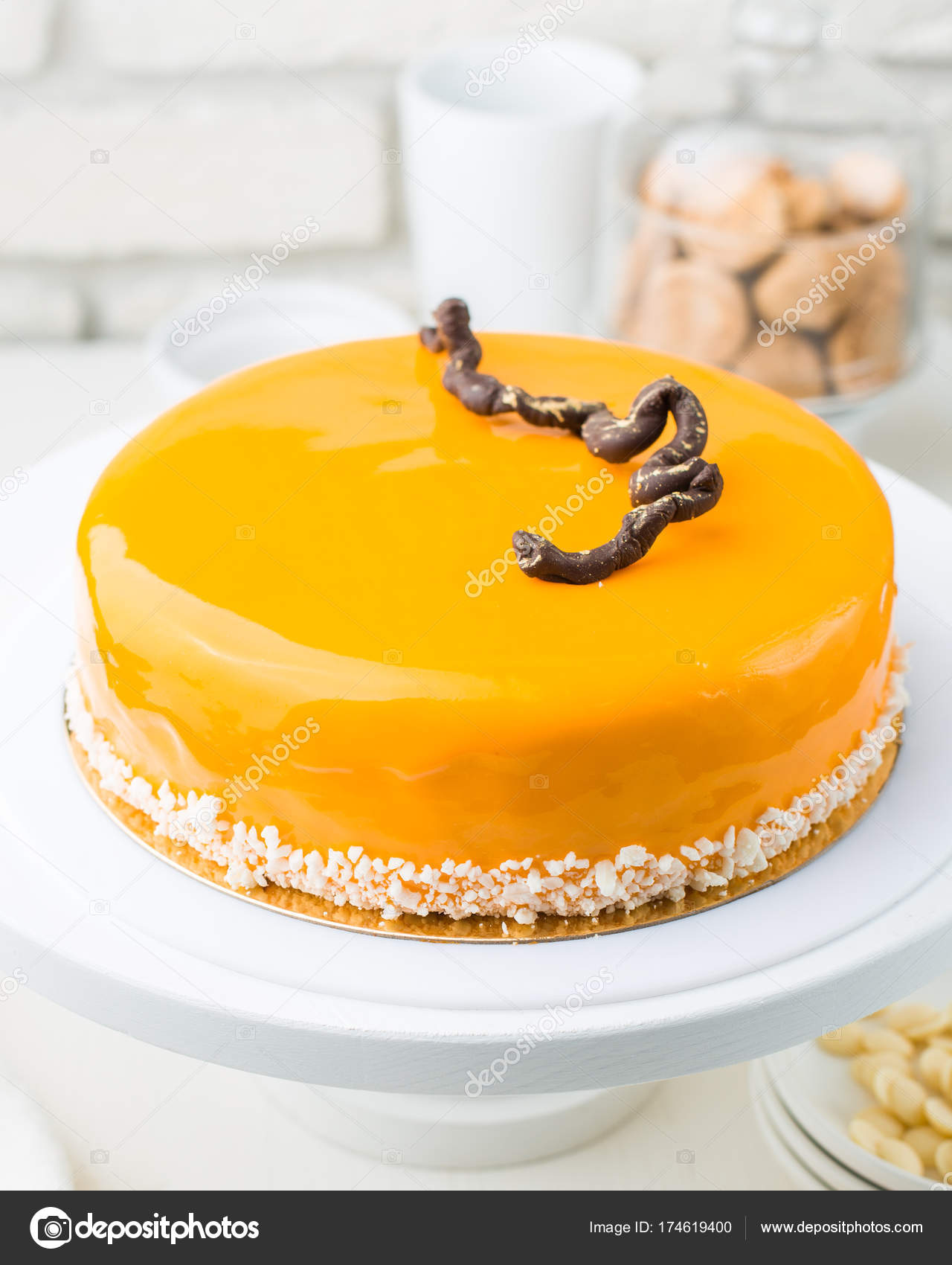 Photo Carrot Honey Mousse Cake Cafe Modern Cake Cut Piece Stock