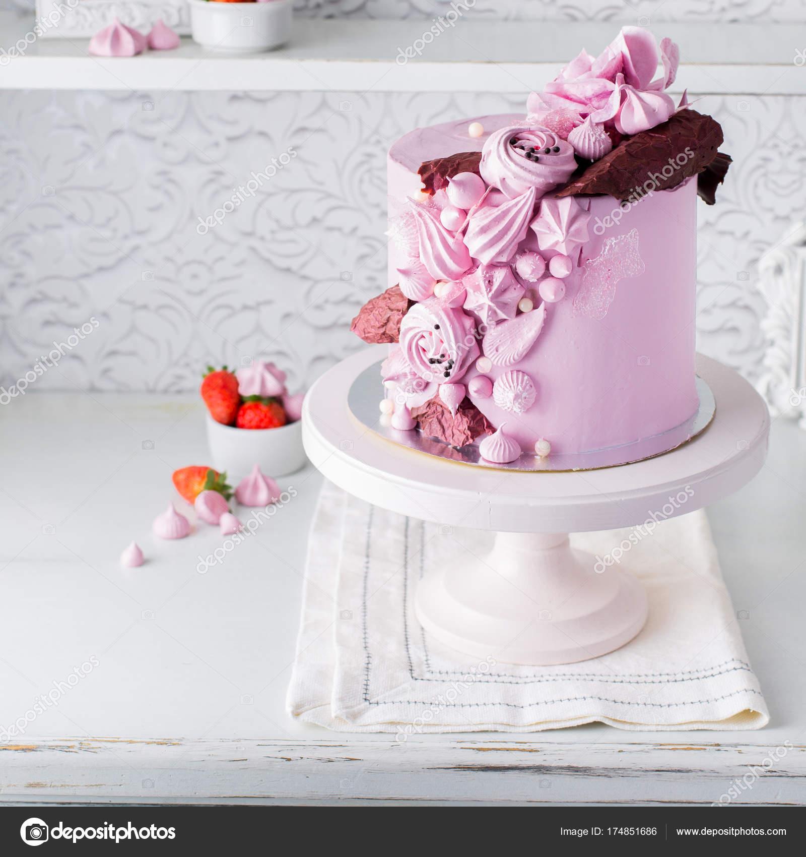 Beautiful Chocolate Cake Cheese Cream Meringues Chocolate Flowers