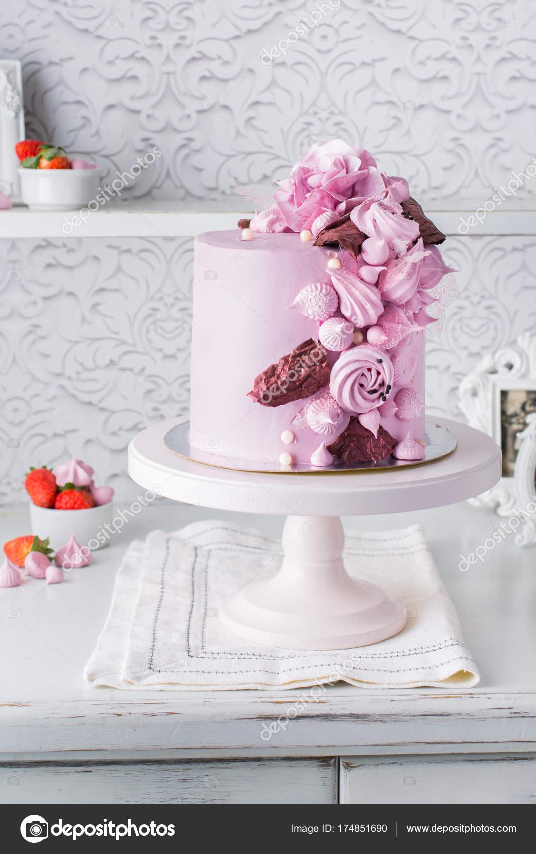 Beautiful Chocolate Cake Cheese Cream Meringues Chocolate Flowers ...