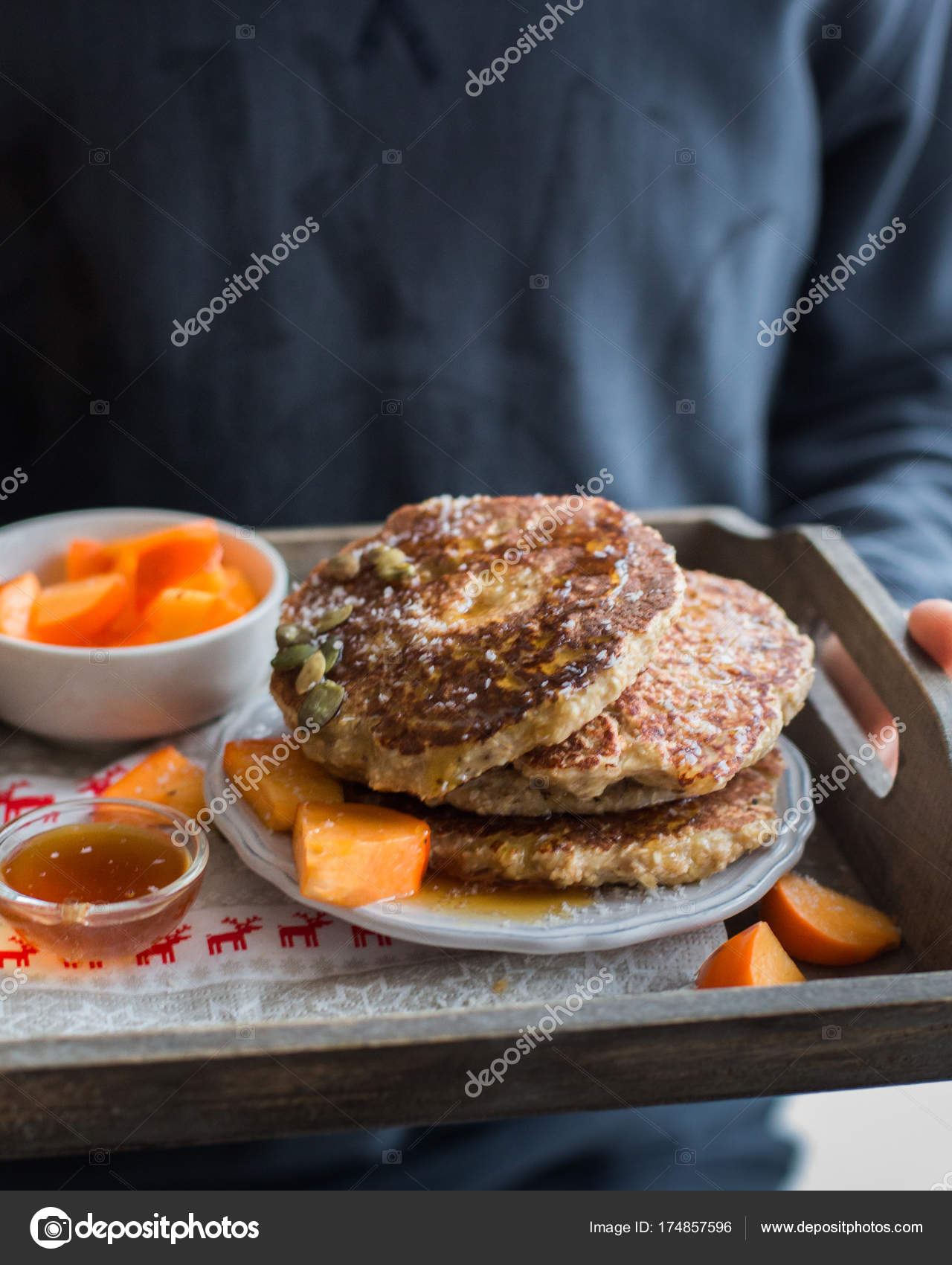 Lovely Protein Pancakes Tasty Useful Pancake Oatmeal Cottage Cheese Honey Pumpkin  U2014 Stock Photo