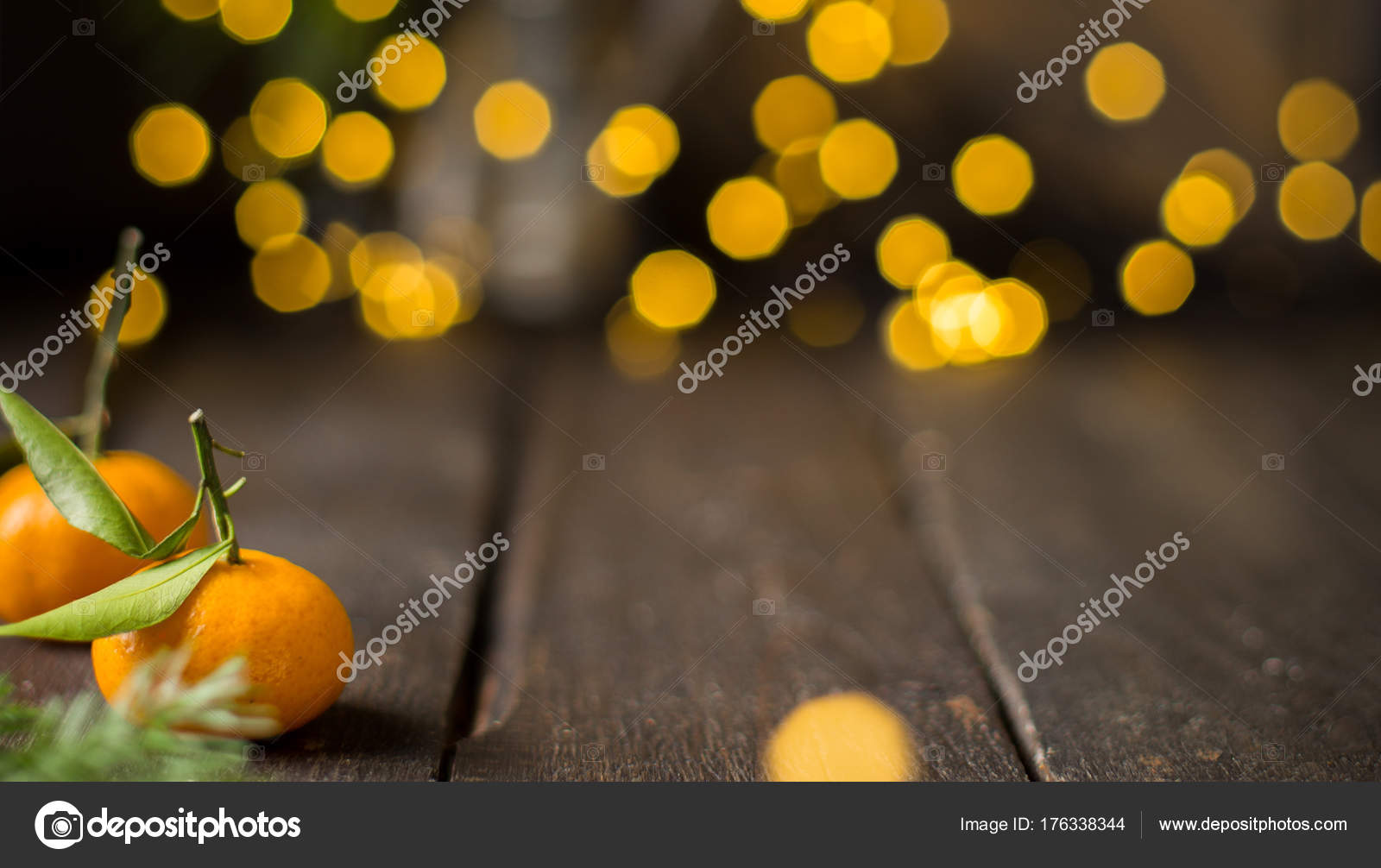 Christmas Tangerine Mood Fresh Tangerines Wooden Vintage Background Lights Best Stock Photo