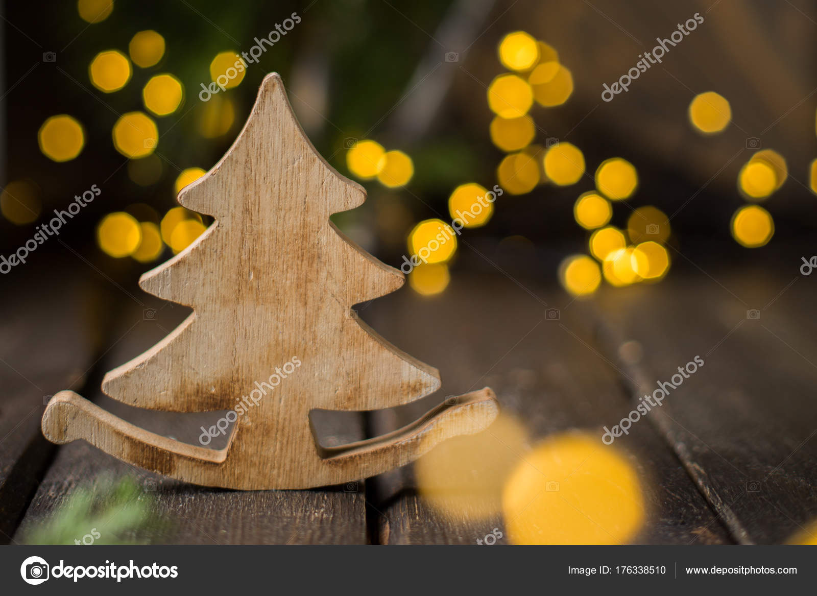 Christmas Tree Mood Wooden Vintage Xmas Dark Background Lights Stock Photo