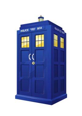 raster illustration of british police box illuminating on white background, flying