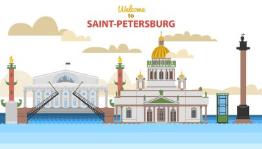 Saint-Petersburg flat cityscape. vector illustration for design your website or publications.