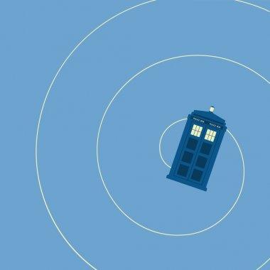 vector illustration of british police box illuminating on blue background, flying
