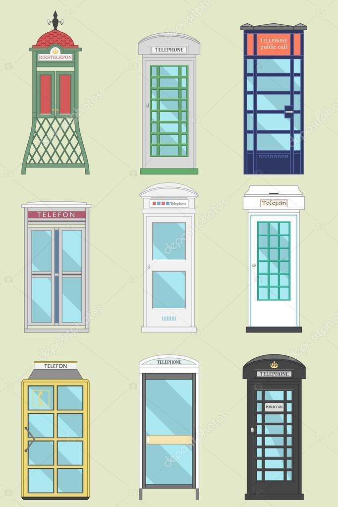 Set of 9 United Kingdom Telephone Boxes from England
