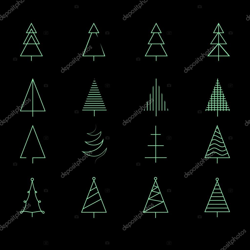 fir set of 16 different christmas trees