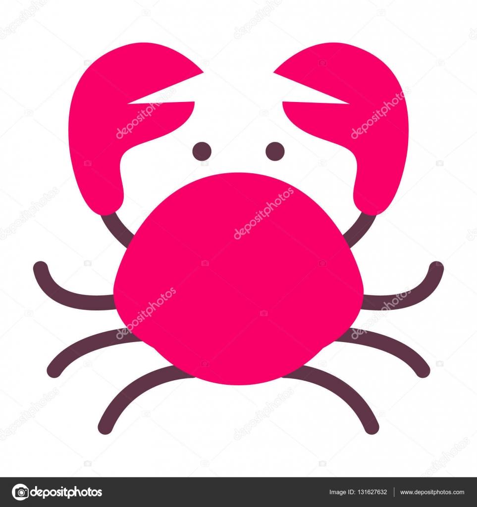 icono de cangrejo, plano cangrejo estilo rojo aislado en blanco ...
