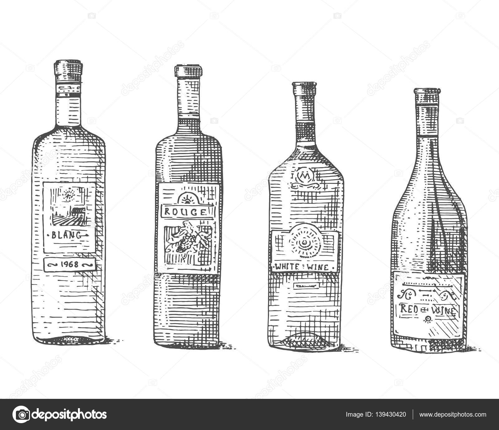 Wine Bottle Hand Drawn Engraved Old Looking Vintage Illustration Stock Vector