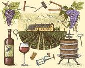 Fotografia vino vendemmia prodotti, stampa, uve, vigneti cavatappi bicchieri bottiglie in stile vintage, disegnato a mano inciso