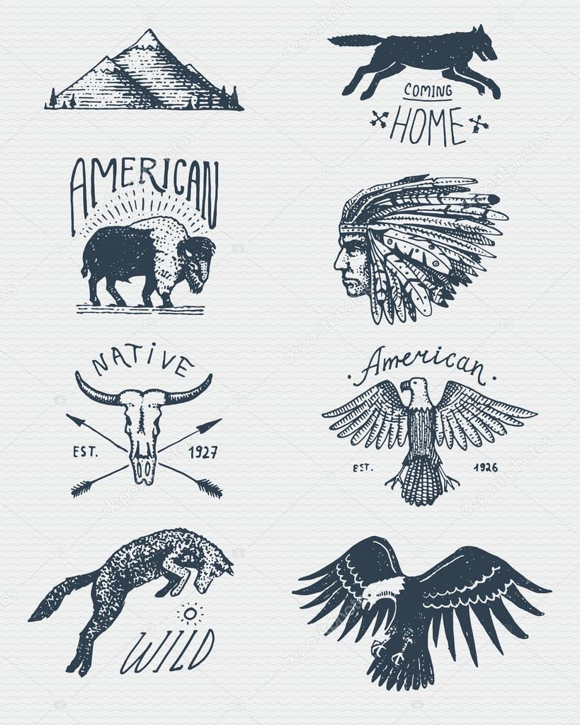 set of engraved vintage, hand drawn, old, labels or badges for camping, hiking, hunting with bald eagle. buffalo, skull. wolf and mountains with red skinned indian, native american