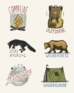 set of engraved vintage, hand drawn, old, labels or badges for camping, hiking, hunting with campfire, backpack and wolf, grizzly bear with tent