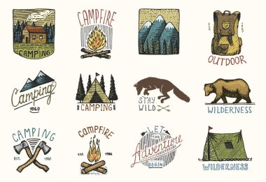 set of engraved vintage, hand drawn, old, labels or badges for camping, hiking, hunting with mountains, campfire and tent, axes. bear and backpack, wolf or red fox.