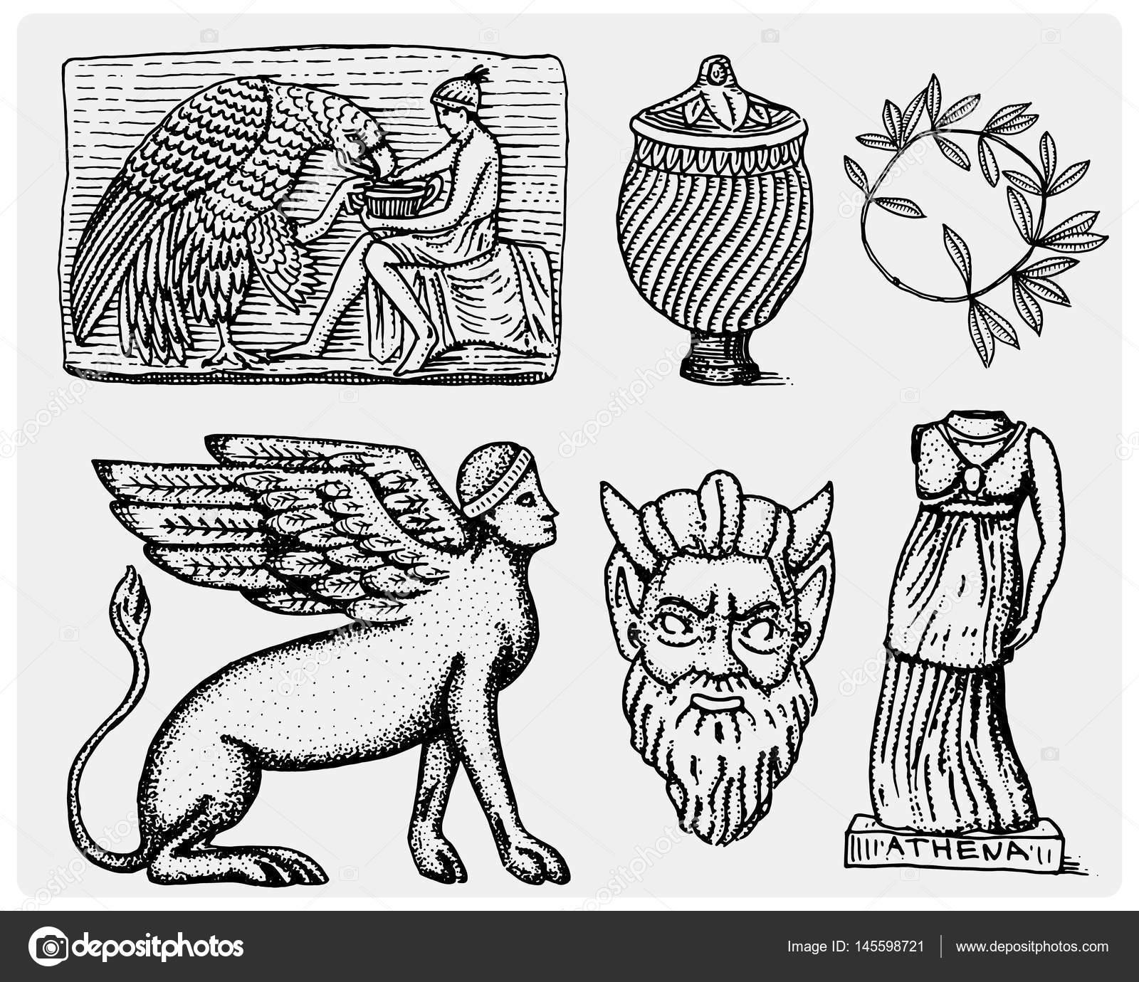 Ancient greece antique symbols ganymede and eagle anphora vase ancient greece antique symbols ganymede and eagle anphora vase athena statue and satyr biocorpaavc