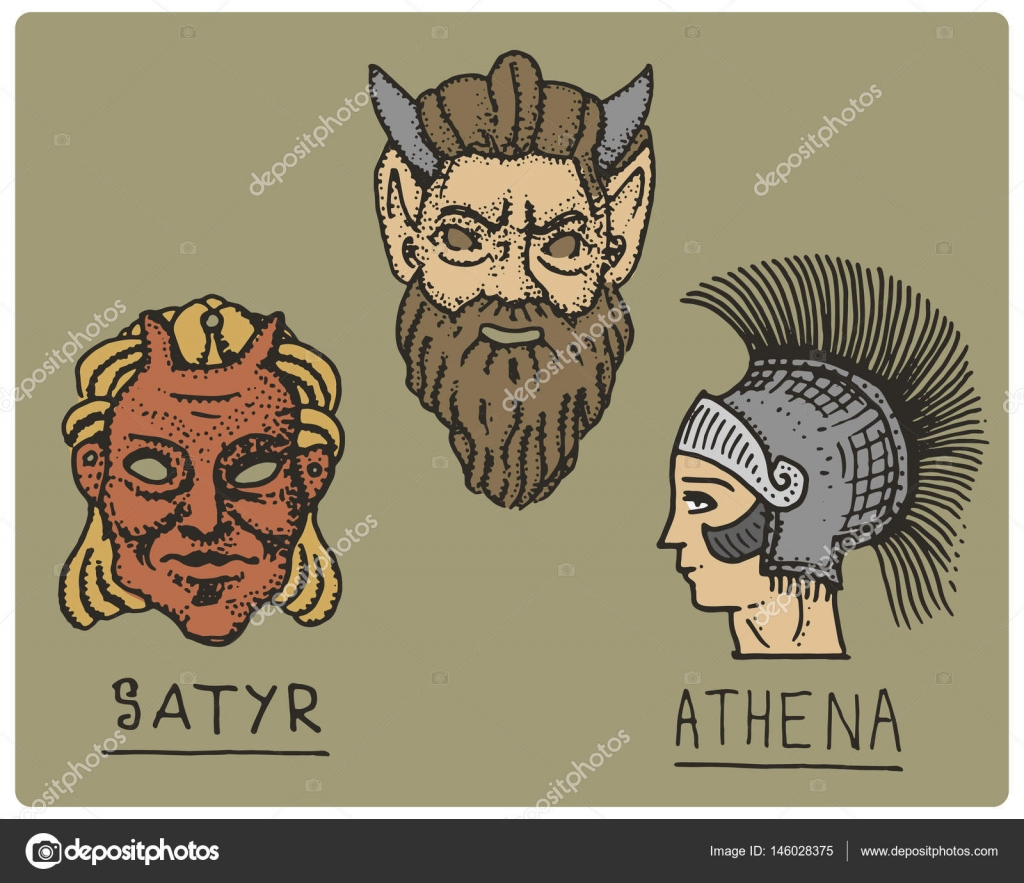 Ancient greece antique symbols athena profile and satyr face ancient greece antique symbols athena profile and satyr face engraved hand drawn in biocorpaavc Images