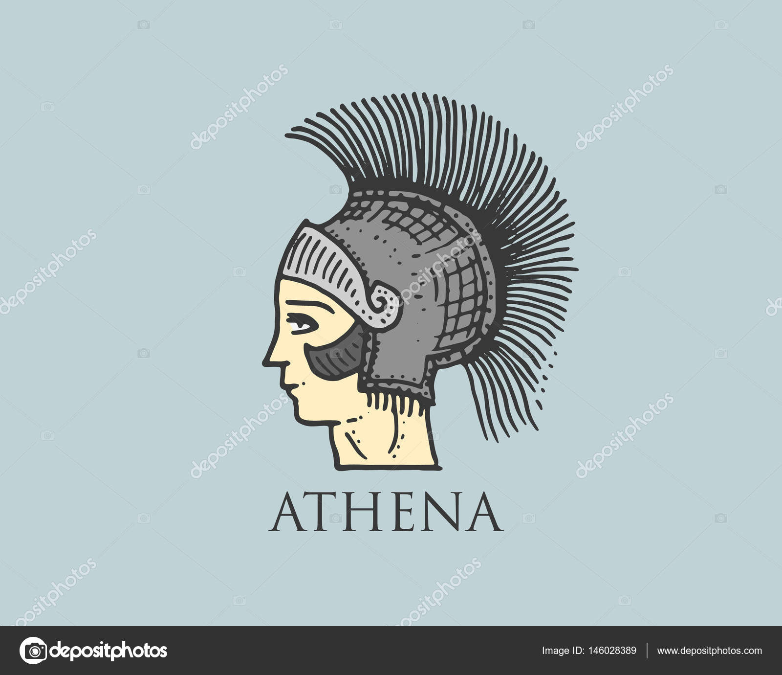 Godness athena logo ancient greece antique symbol vintage godness athena logo ancient greece antique symbol vintage engraved hand drawn in sketch or biocorpaavc Images