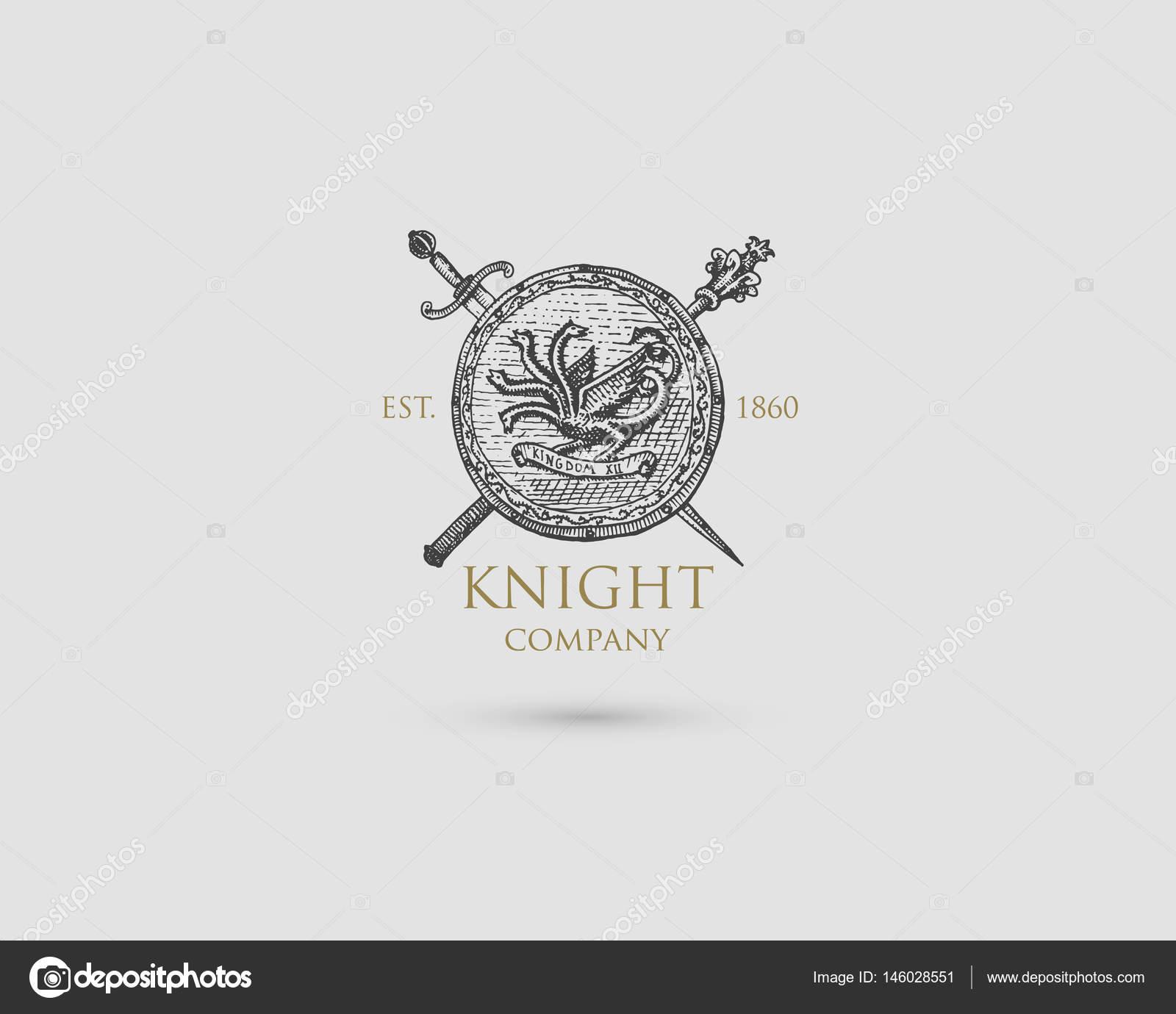con espada, cuchillo y mace insignia, símbolo vintage antiguo ...
