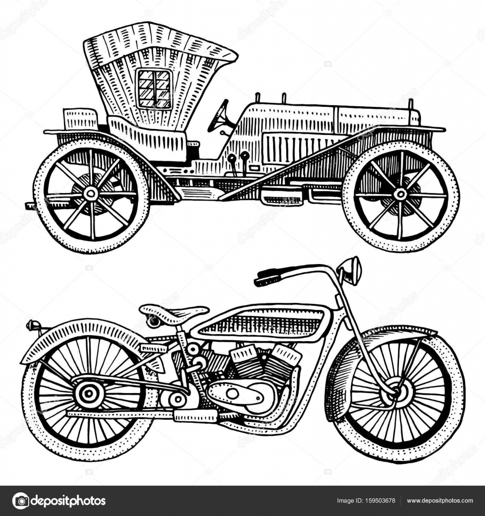 Classic car, machine or engine and motorcycle or motorbike ...