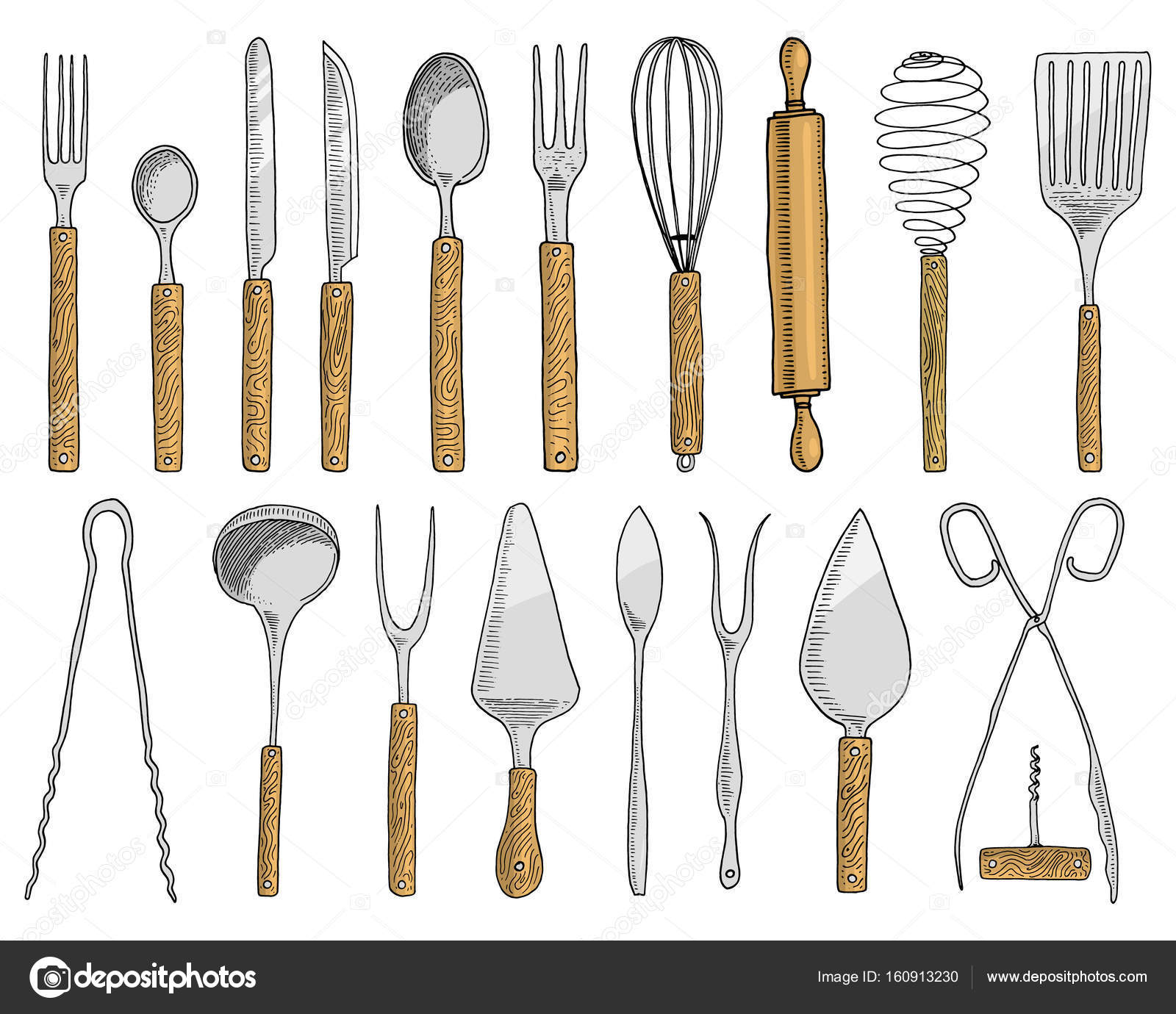 Restaurant Kitchen Utensils: Dining Or Snack Fork For Oysters, Ice Cream Spoon And Knife For Dessert Or Butter And Baking