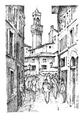 Scene Streets in European town Florence in Italy . engraved hand drawn in old sketch and vintage style. historical architecture with buildings, perspective view. Travel postcard. Palazzo Vecchio.