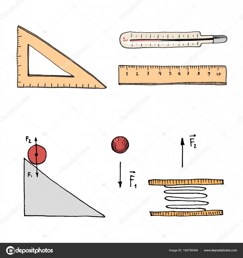 Circuito Y : Regla y termómetro circuito y gráfico grabado a mano de viejos