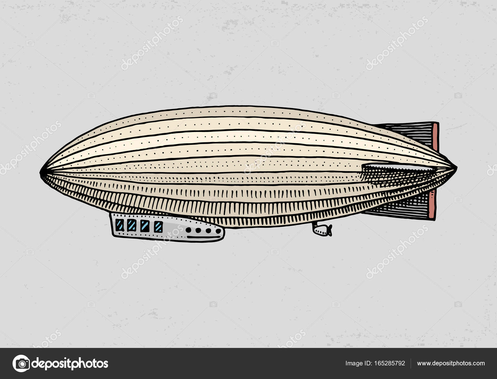 Airship or zeppelin and dirigible or blimp. For travel. engraved hand drawn  in old sketch style, vintage transport — Vector by ArthurBalitskiy