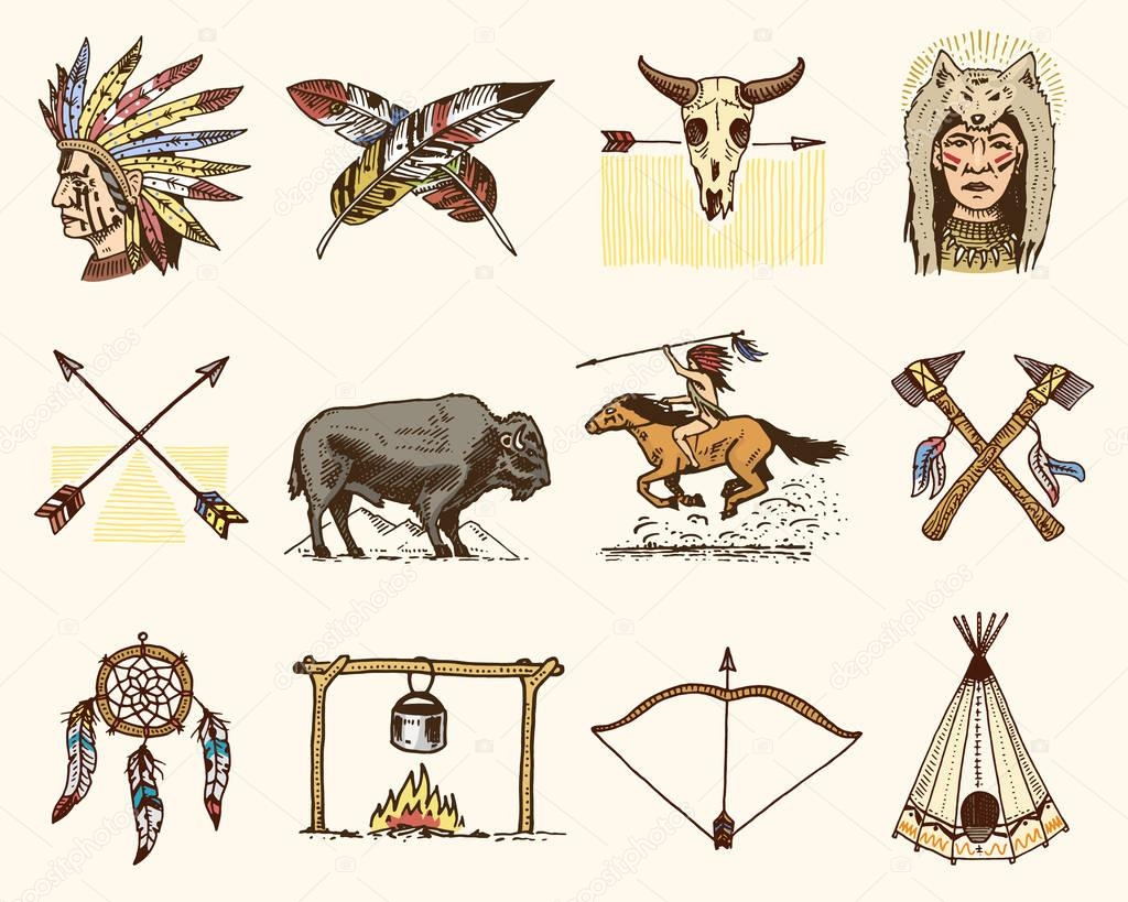 indian or native american. buffalo, axes and tent, arrows and bow, skull, Dreamcatcher and cherokee, tomahawk. set of engraved vintage, hand drawn, old, labels or badges.