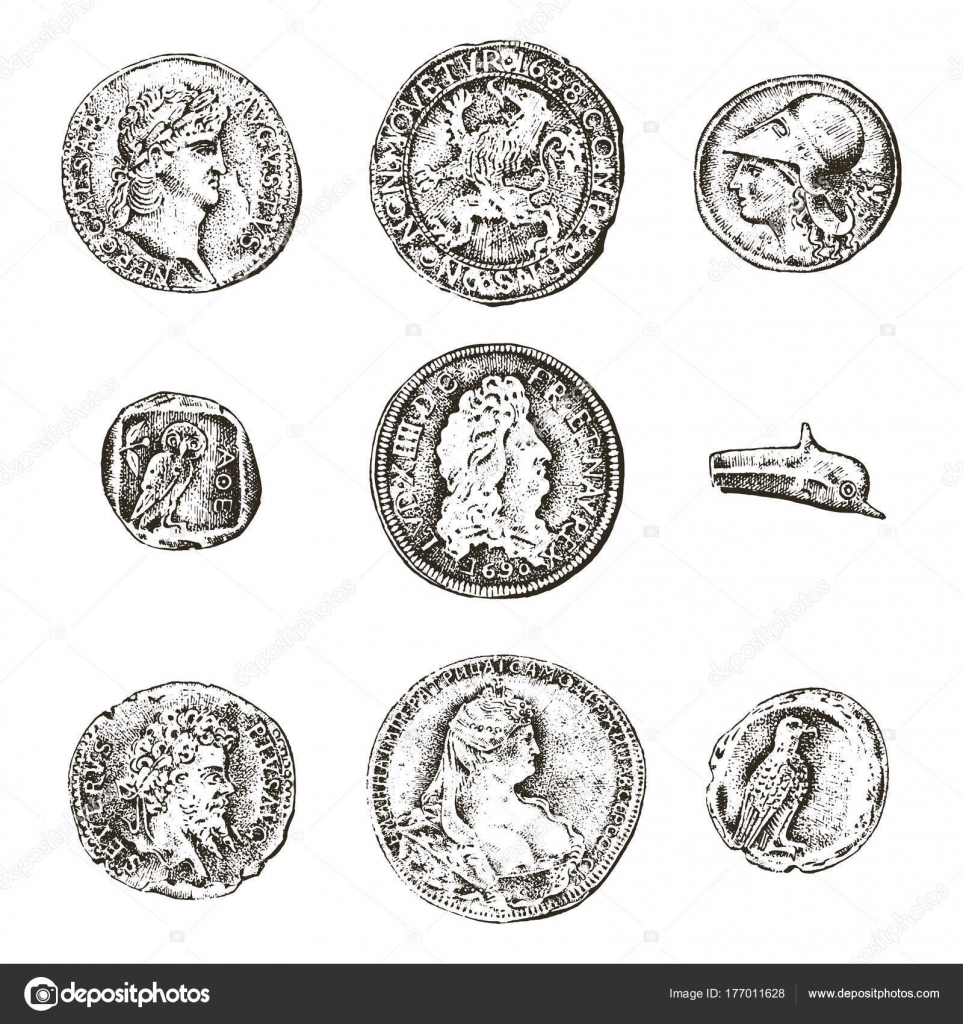 Roman coin drawing   Set ancient coins or money  roman and