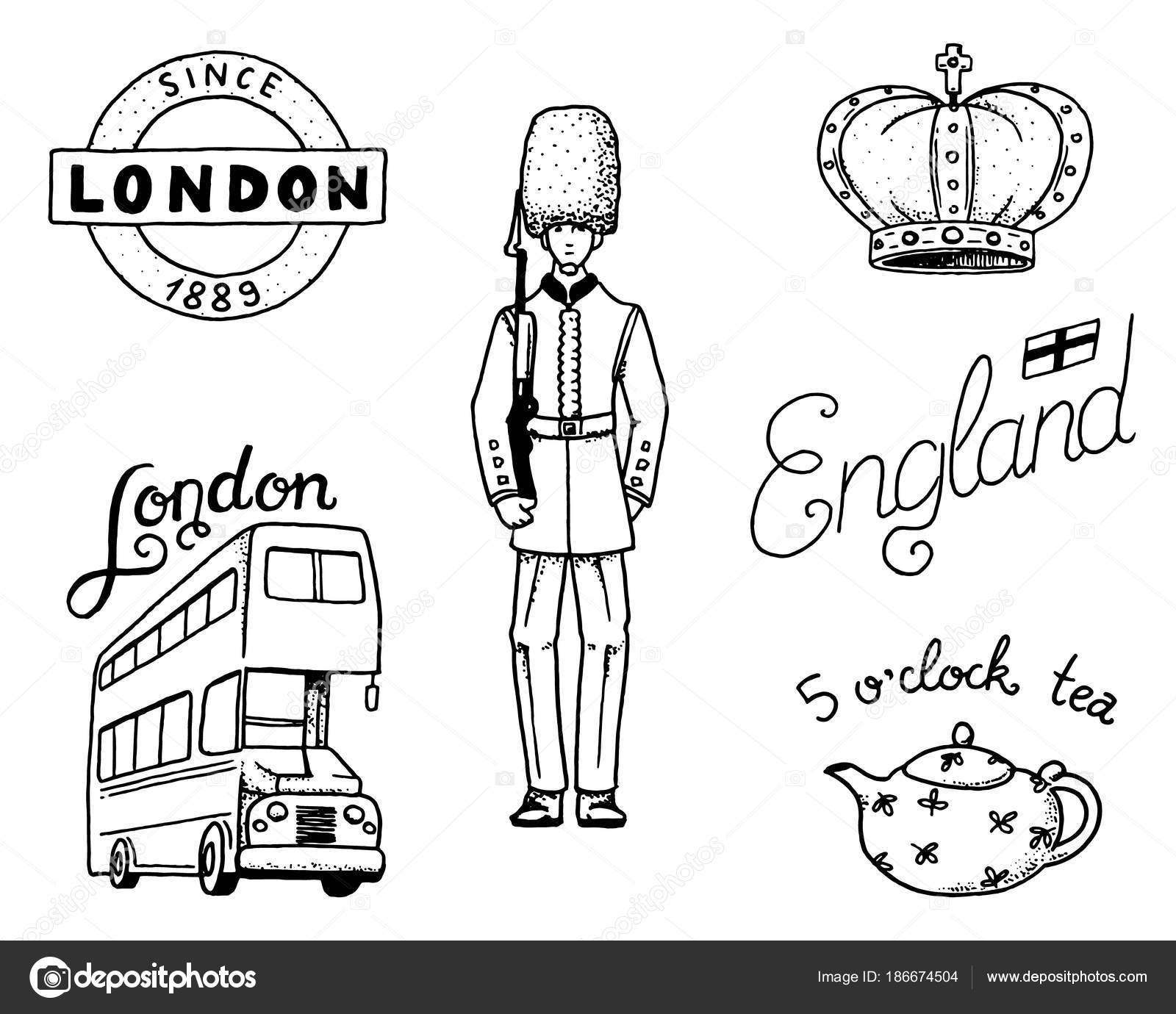 Logo De British Couronne Et Reine Théière Avec Thé De Bus