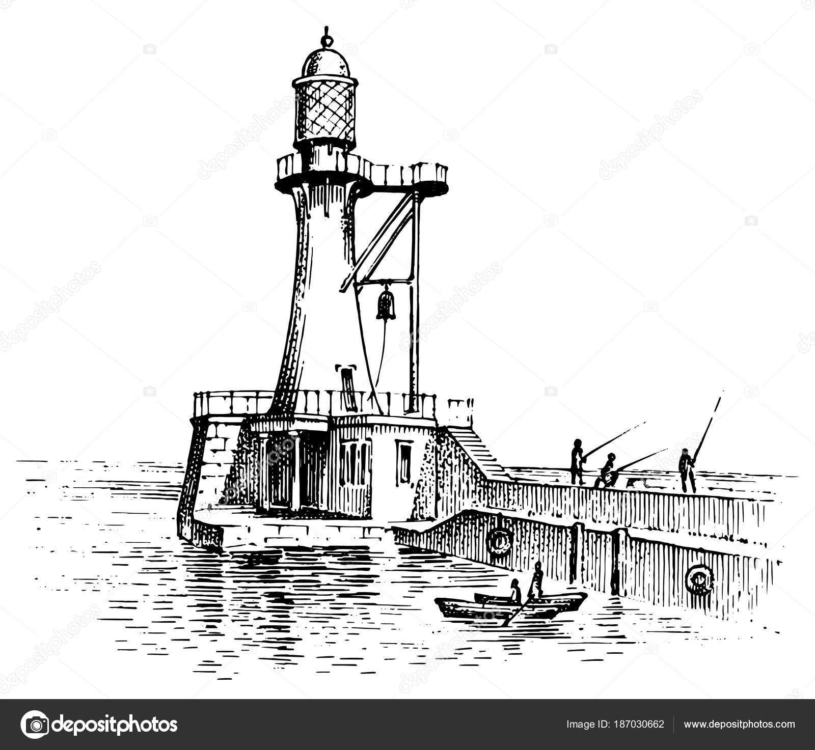 Vuurtoren en zee. Mariene schets, nautische reis en zeegezicht ...