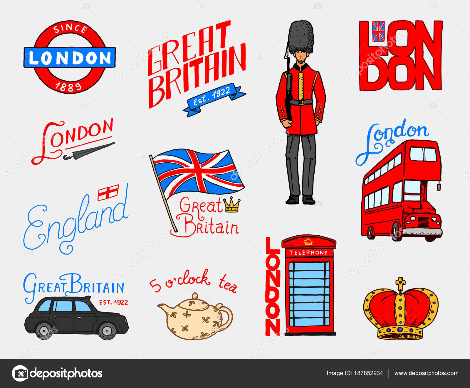 British Logo Crown And Queen Teapot With Tea Bus And Royal Guard