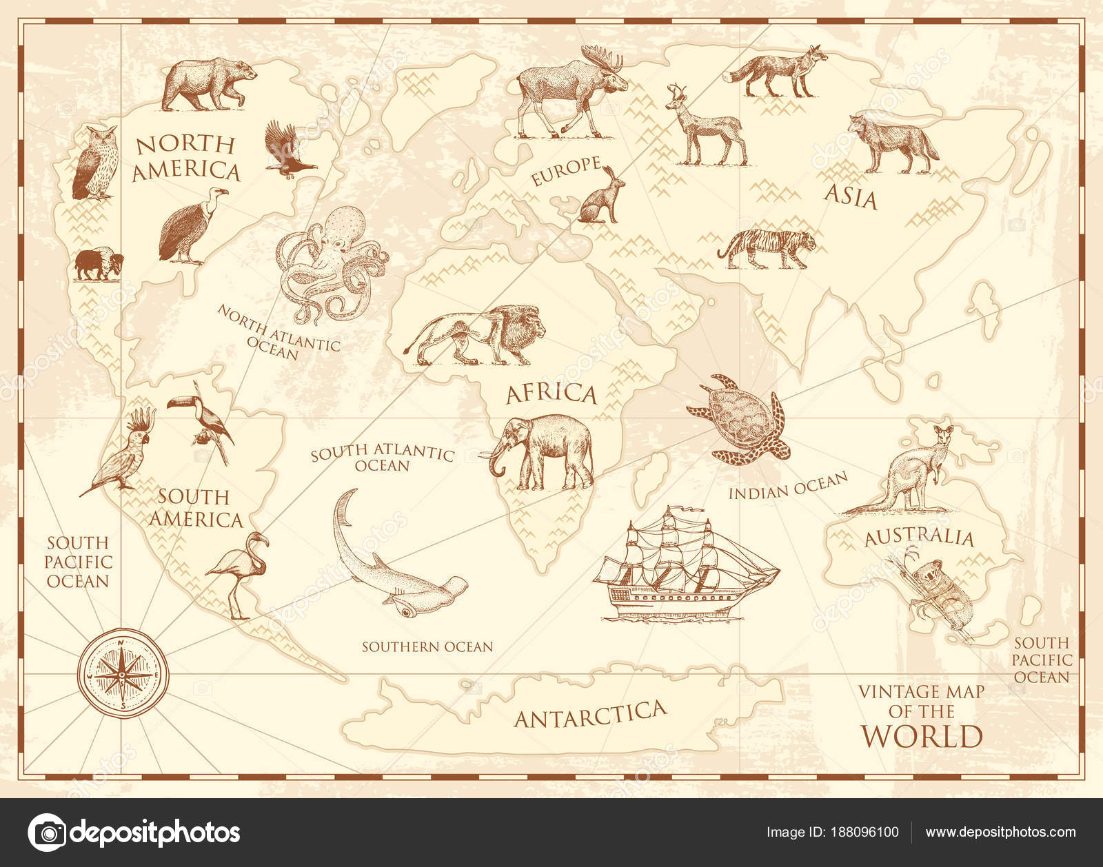 Vintage world map with wild animals and mountains sea creatures in vintage world map with wild animals and mountains sea creatures in the ocean old retro parchment wildlife on earth concept background or poster for gumiabroncs Choice Image